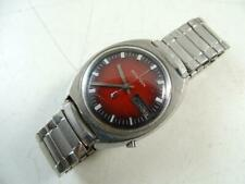 Vintage Bulova Accutron Red Dial Date Day Men's Wristwatch Retro Stainless Steel