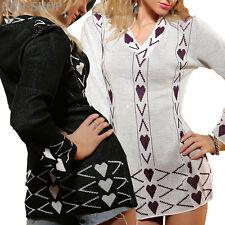 Damen Longpullover langarm V-Ausschnitt Pullover Pulli Gr. 36 schwarz - weiß