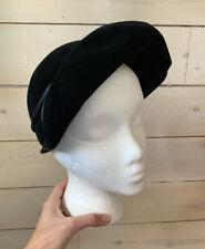 Vintage 1930s Helen Joyce Hat Black Velvet Made In France Sz 22.5