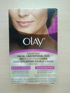 Olay Smooth Finish Facial Hair Removal Duo Skin Balm Cream Medium to Coarse