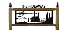 PERSONALIZED CABIN LOG SIGN - PINE TREES AND LAKES SCENES - LANDSCAPING DECOR