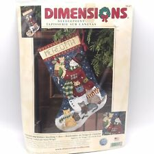 "New Dimensions Needlepoint ""Snowman & Kitties"" 16"" Lng Stocking Kit #9127 Winget"