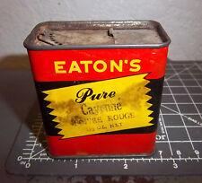 Vintage Eatons Pure CAYENNE poivre rouge 1.5 oz spice tin, great colors, unusual