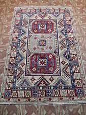 4x6 Carpet Kazak Caucasus Inspired room Handmade Area Rug