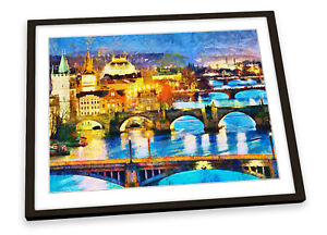 Prague Night City Paint Repro FRAMED ART PRINT Picture Poster Artwork