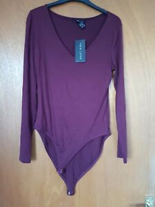New Look Burgundy Body Bodysuit Size 14 New With Tags