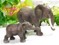 2 pcs Realistic Elephant & Cub Wild Animal Figure Statue Solid Plastic Toy Model