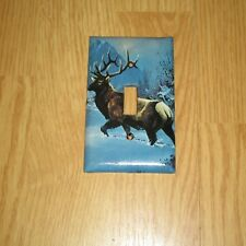 MONSTER RACK TROPHY ELK IN THE SNOW WILD GAME LIGHT SWITCH COVER PLATE