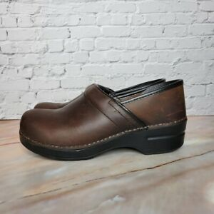 Dansko Professional Clogs Oiled Antique Leather Womens Size 40 US 9.5-10 Brown