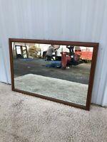 Mid Century Modern Large Mirror with Walnut Frame