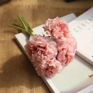 Artificial Bouquet 5 Head Peony Silk Flowers Fake Leaf Wedding Party Decor Home