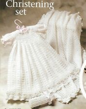 Christening Set Baby Dress Booties Afghan Bonnet Crochet Pattern Instructions