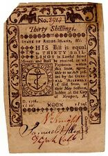 1786 Rhode Island Colonial Currency May, 1786 Thirty Shillings Bright Crisp!!