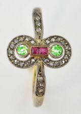 Victorian Look 925 Silver Cocktail Ring 1.95ct Rose Cut Diamond Ruby Peridot