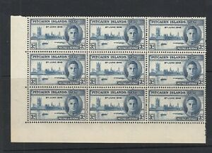 Pitcairns 1946 3d Victory 'Flagstaff' Flaw SG10A - Unmounted mint in block of 9