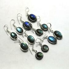Natural Labradorite 20 pair Wholesale Lots 925 Sterling Silver Plated Earrings