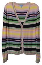 ESCADA Striped Lightweight Viscose Spring Cardigan Size M Pink Blue