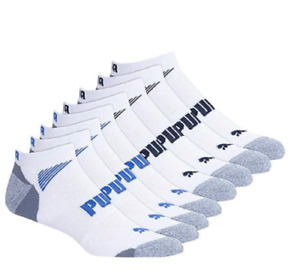 8 Pairs PUMA Cool Cell Mens NO SHOW Sports Trainer Socks White UK 6-8 or 9-11
