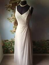 Raylia Designs Light Grat Chiffon Lace Up Bidesmaids Formal DressSZ 14 NWT
