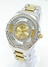 New Silver Gold Plated 3D Cubic Zirconia Women's Geneva Wrist Watch