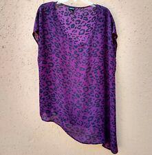 Torrid Chiffon Blouse Purple Black Animal Print Cap Sleeves Diagonal Hem Size 1X