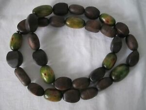 NECKLACE Chunky WOOD BEADS Brown Green Long Statement Hippie Ethnic Tribal 106cm