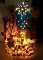 Rare Fiber Optic Christmas Star Angels  Mary Jesus      Joseph Sheep Night Sky