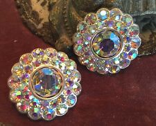 "Vintage Czechoslovakia BUTTONS AURORA BOREALIS 1 3/8"" Crystals Metal Silver 1pr"