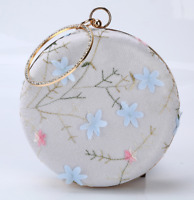 Embroidery Round Clutches Handbag Handle Evening Purse Chain Bag for Party