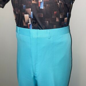 Vtg 60s 70s Mens 38 32 Pants Polyester Leisure Suit Perma Prest Disco Midcentury