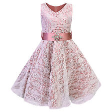 Girls V-neck Lace Wedding Party Bridesmaid Princess Dance Prom Dresses Pink 3-4 Years
