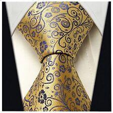 Men's Gold Yellow & Purple Necktie - Jacquard Woven Floral Tie - Scott