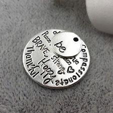 Be True Charm Antique Tibetan Silver Engraved DIY Pendant Free Happy Brave Kind