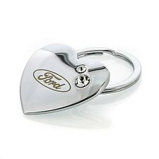 Ford Heart Shape Keychain With 2 Clear Crystals Key Chain