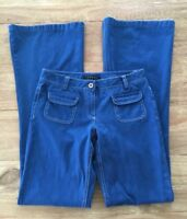 THEORY   Blue Cotton Boot Cut Flare Wide- Leg Jeans Denim Pants Trouser Size 0