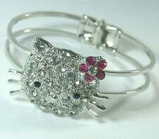HELLO KITTY CAT DIAMONTE CRYSTAL HINGE BANGLE CUFF BRACELET SILVER PLAITED NEW