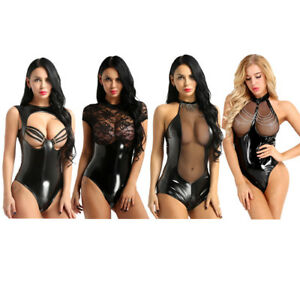 Sexy Women's Wet Look Leather Romper Bodysuit Open Chest Playsuit Night Clubwear
