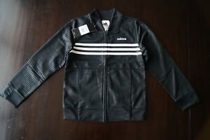NEW Boys Adidas 3 Stripes Embossed Tricot Track Jacket Black Sz 5 Zip Up Youth