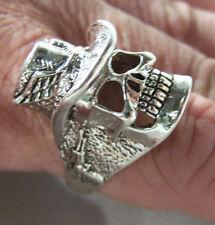 2 WESTERN SKULL EAGLE W PISTOL GUN ON SIDE RINGS metal biker BR87 COWBOY ring