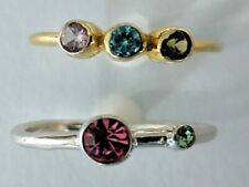 STERLING SILVER CRYSTAL STACKABLE RINGS TRILOGY AND 2 STONE  WITH SWAROVSKI 8