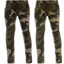 Kinder Mädchen Jeans Chino Hose Stretch Camo Röhren Nieten Hosen Camouflage Cool