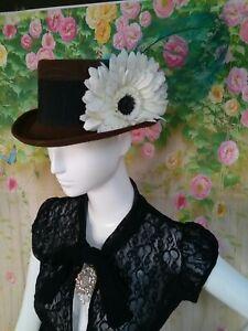 Women's Whiteley Steampunk,wedding, goth  brown made in England hat