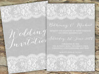 PERSONALISED RUSTIC BURLAP & LACE GREY WEDDING INVITATIONS