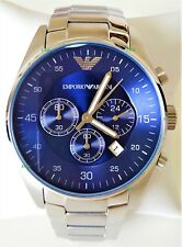 Emporio Armani Men Watch Alfa Sport Steel Blue Dial Silver Band Genuine  AR5860