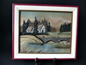 1950's Japanese Hand Painted & Embroidered Painting On Silk