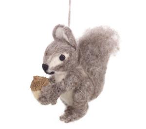 'Eric The Squirrel'  Fair Trade Handmade Felt Biodegradable Hanging Decoration