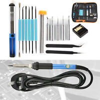 Soldering Iron Kit Electronics Welding Irons Tool Adjustable Temperature 60W UK