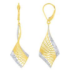 Textured 14K Yellow Gold Two-Tone Fancy Spiral Dangle Earrings