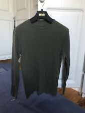 RIVER ISLAND GENTS MANS MENS GREEN T SHIRT TOP LONG SLEEVE SLIM FIT SIZE S