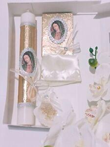 La Virgen De Guadalupe Baptism Candle Set Favors Set Vela De Bautizo Recuerdos